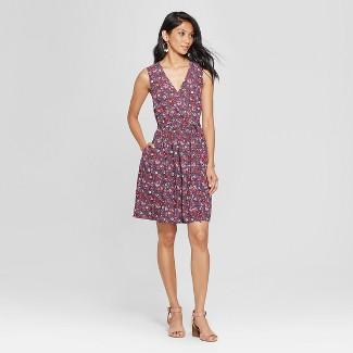 Women's Sleeveless Floral Wrap Tie Waist Dress - Xhilaration™ Navy XL
