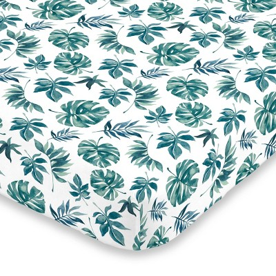 NoJo Super Soft Green and White Palm Leaf Nursery Crib Fitted Sheet
