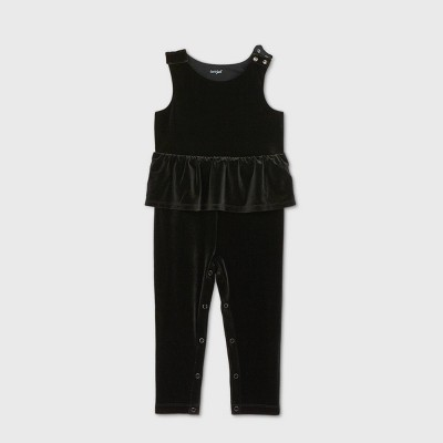 Toddler Girls' Adaptive Abdominal Access Velour Jumpsuit - Cat & Jack™ Black