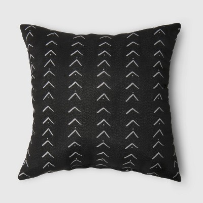 Oversize Square Vee Stripe Outdoor Pillow Black - Opalhouse™