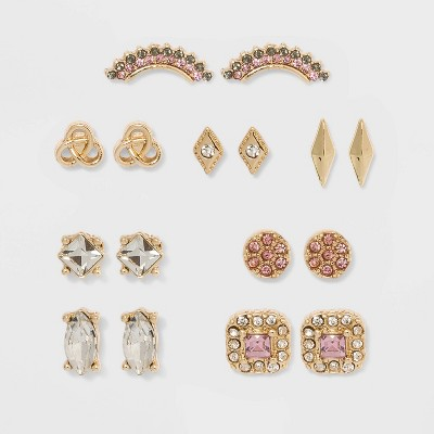 Stud Earrings 8pc - A New Day™ Gold