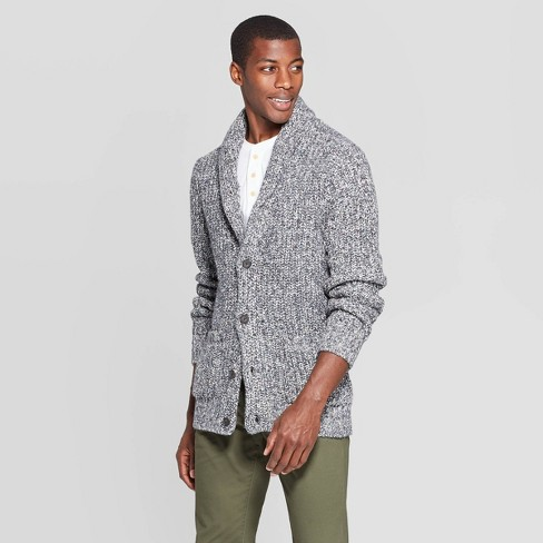 Men's Casual Fit Chunky Cardigan Sweater - Goodfellow & Co™ Gray - image 1 of 3