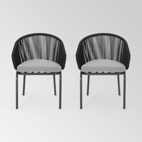 Boynton Set of 2 Rope Modern Club Chairs - Black/Gray - Christopher Knight Home - image 1 of 4