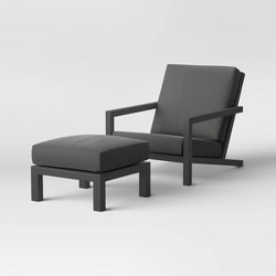 Asti Adirondack Patio Club Chair & Ottoman Set Charcoal - Project 62™
