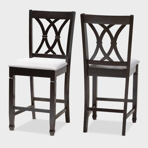 2pc Reneau Finished Wood Counter Height Pub Chairs - Baxton Studio - image 1 of 7