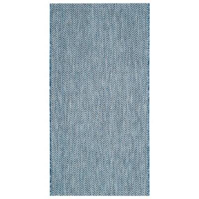 Positano Rectangle 2'7  X 5' Outdoor Patio Rug - Navy / Gray - Safavieh®