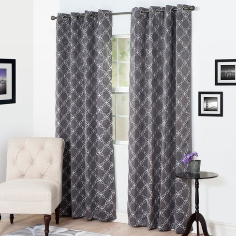 "Yorkshire Home Myra Room Darkening Curtain Panel 84"" Charcoal - image 1 of 4"