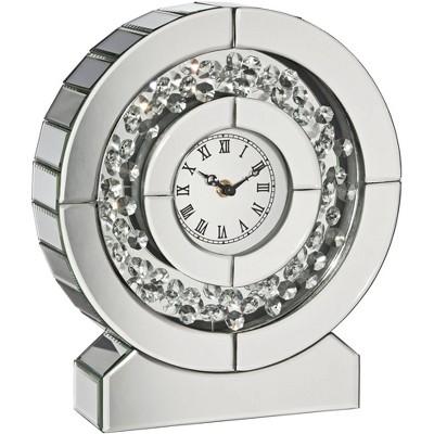 "Dahlia Studios Claudyn 12"" High Mirrored and Crystal Table Clock"