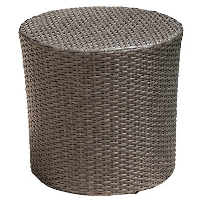 Keaton Wicker Barrel Side Table - Gray - Christopher Knight Home