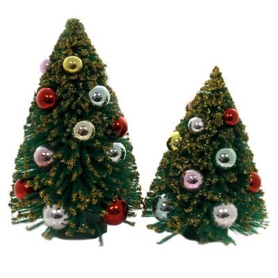 "Cody Foster 8.5"" Decorated Bottle Brush Trees Putz Village Bulb Glittered  -  Decorative Figurines"
