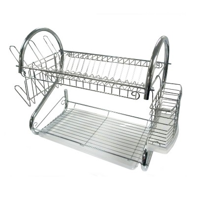 Better Chef 16-Inch 2-Tier Chrome Plated Dishrack in Red