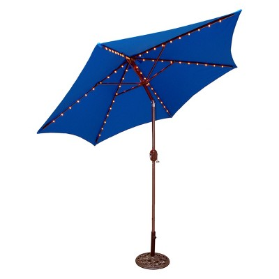 Captivating 9u0027 Round Lighted Patio Umbrella   Blue : Target