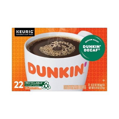 Dunkin' Donuts Decaf Medium Roast Coffee - Keurig K-Cup Pods - 22ct