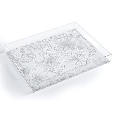 Emanuela Carratoni Line Art Floral Theme Acrylic Tray - Deny Designs