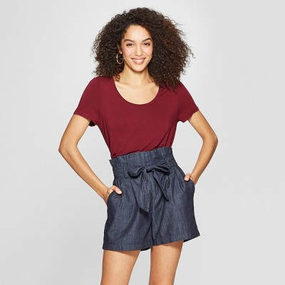 Women's Standard Fit Short Sleeve Scoop Neck Any Day T-Shirt - A New Day™ Burgundy S