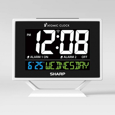 Atomic Digital Alarm Clock with Calendar Silver - Sharp