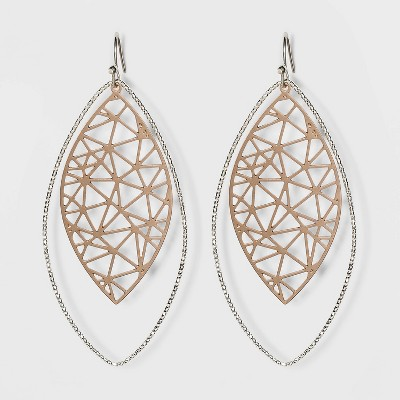 Multi Plated Filigree Drop Earrings - A New Day™