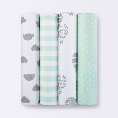 Flannel Baby Blanket In the Clouds 4pk - Cloud Island™ Green