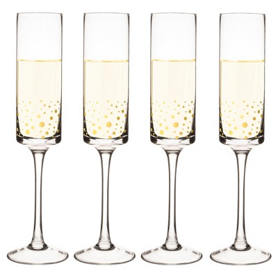 Cathy's Concepts 8oz Gold Dot Champagne Flutes - Set of 2