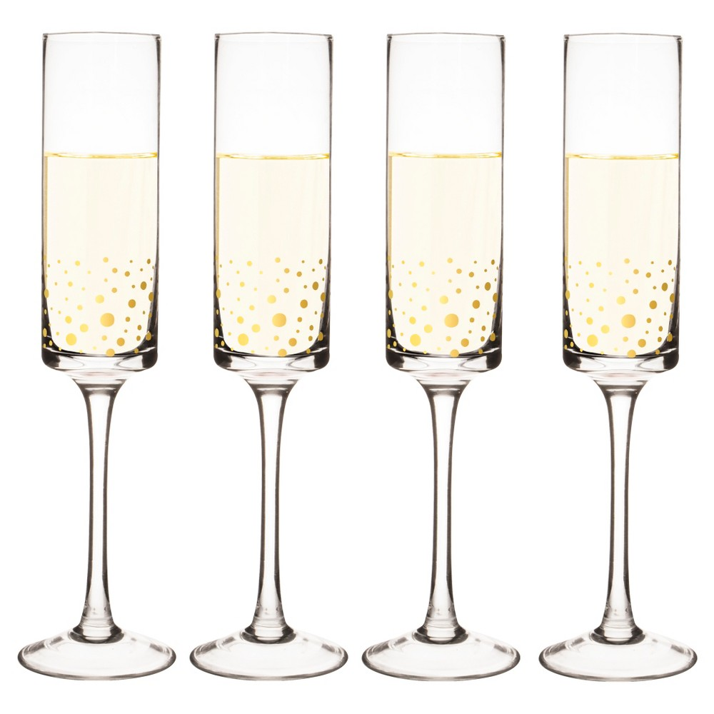 Cathy's Concepts 8oz Gold Dot Champagne Flutes - Set of 2, Clear
