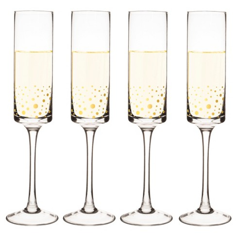 cathy s concepts 4pk gold dot champagne flutes target