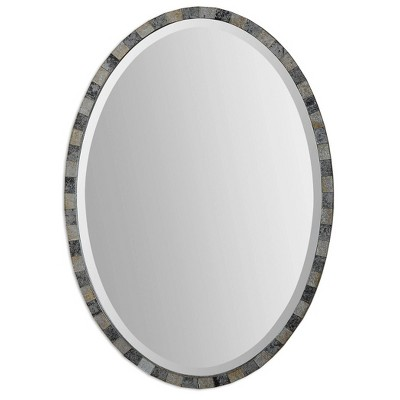 Oval Paredes Mosaic Decorative Wall Mirror Gray - Uttermost