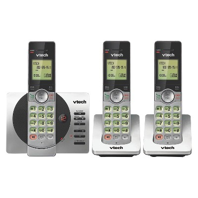 VTech CS6929-3 DECT 6.0 Expandable Cordless Phone with Answering Machine, 3 Handsets - Black/Silver