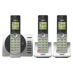 VTech® CS6929-3 DECT 6.0 Expandable Cordless Phone with Answering Machine, 3 Handsets - Black/Silver