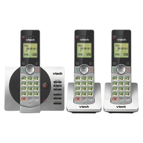 VTech CS6929-3 DECT 6.0 Expandable Cordless Phone with Answering Machine, 3 Handsets - Black/Silver - image 1 of 3