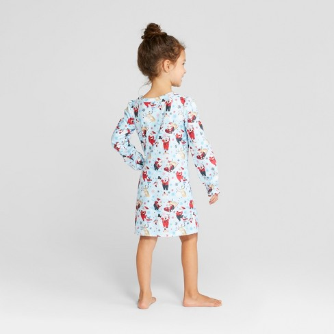 dae86600b Toddler Holiday Santa Notch Collar Mommy And Me Nightgown ...