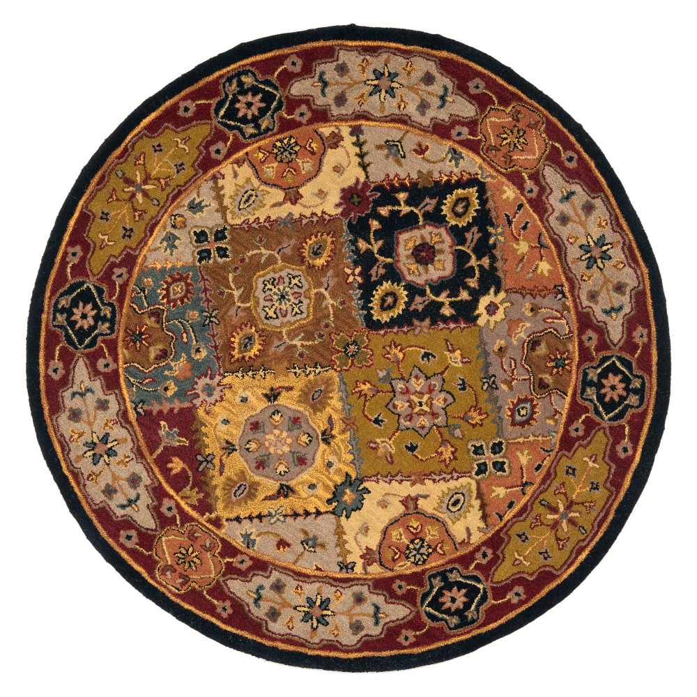3'6 Floral Round Accent Rug Red - Safavieh, Multi-Colored/Red