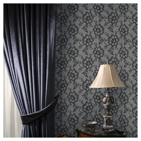 Tempaper Lace Removable Wallpaper - Smokey Black - image 1 of 2