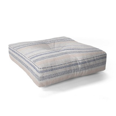 """23""""x23"""" Holli Zollinger French Linen Striped Square Floor Pillow Navy - Deny Designs"""