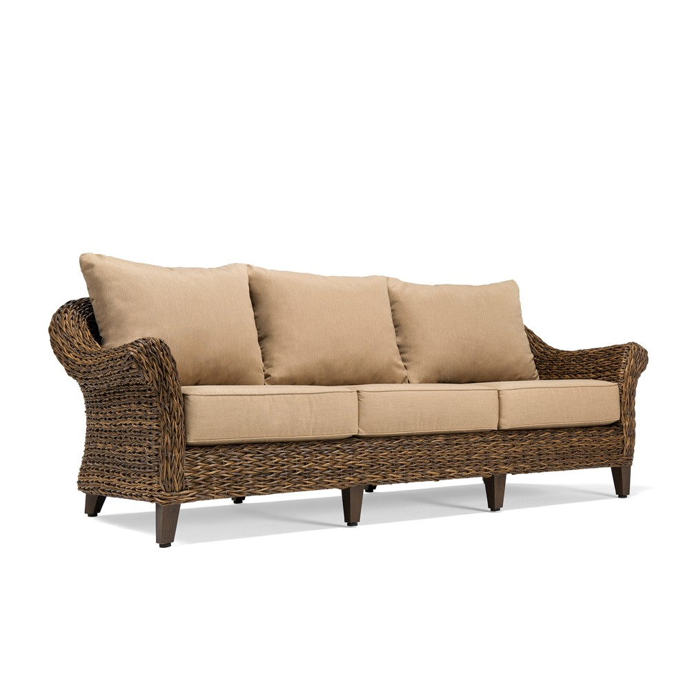 Image of Bahamas Wicker Outdoor Sofa with Sunbrella Canvas Heather Beige Cushion - Blue Oak Outdoor