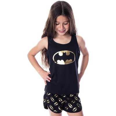 DC Comics Girls' Batman Gold Foil Logo Racerback Tank Shorts Pajama Set