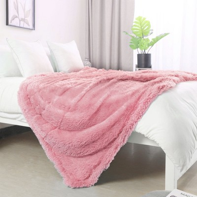1 Pc Twin Microfiber Plush Lightweight Bed Blankets Pink  - PiccoCasa