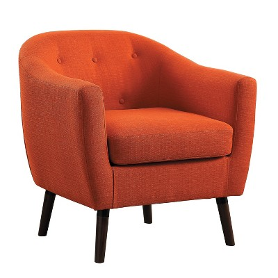 Homelegance 31 Inch Lucille Collection Classic Polyester Fabric Single Living Room Barrel Accent Chair, Orange