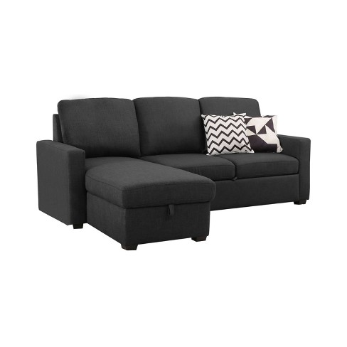 Newman Dark Grey Upholstered Sleeper Sectional W Storage Gray Abbyson Living