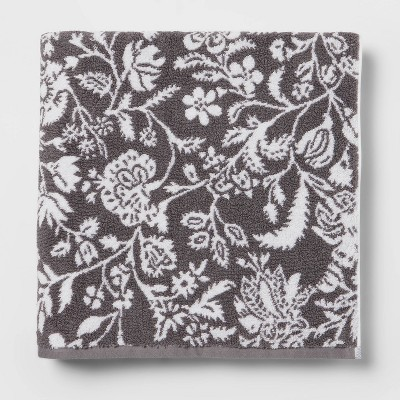 Performance Bath Sheet Dark Gray Floral - Threshold™