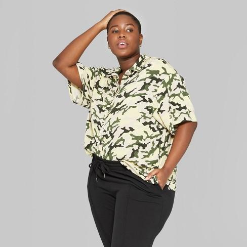 cb2f9e518e3b9 Women s Plus Size Camo Print Oversized Short Sleeve Button-Down Shirt - Wild  Fable™ Green 1X   Target