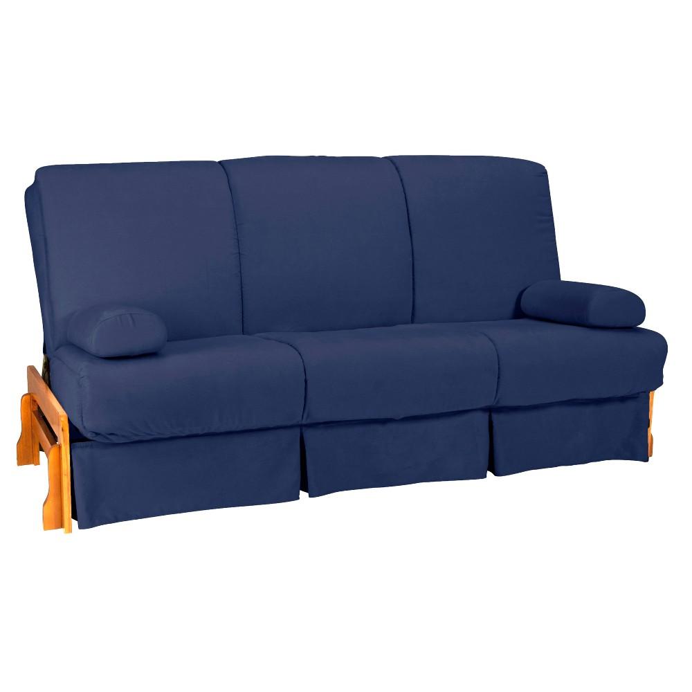 Low Arm Perfect Futon Sofa Sleeper - Natural Wood Finish - Dark Blue Upholstery - Full - Size - Epic Furnishings