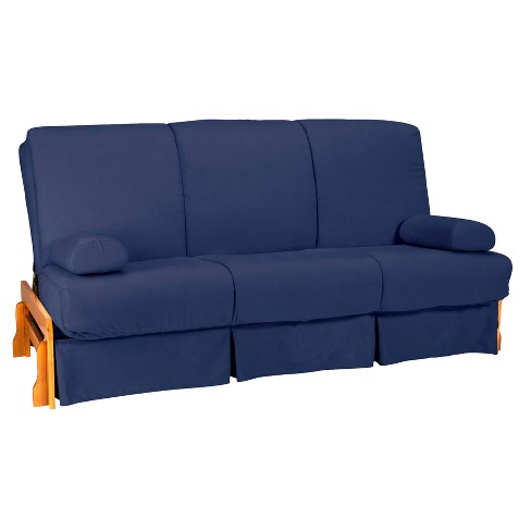 Low Arm Perfect Futon Sofa Sleeper - Natural Wood Finish - Dark Blue Upholstery - Full - Size - Sit N Sleep - image 1 of 4