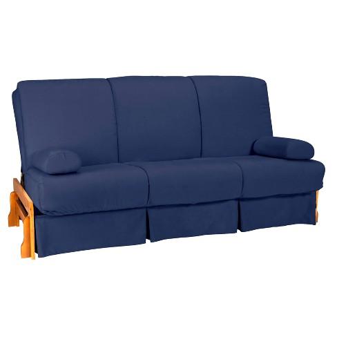 Low Arm Perfect Futon Sofa Sleeper Natural Wood Finish Dark Blue Upholstery Full Size Sit N Sleep