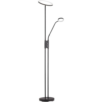 360 Lighting Modern Torchiere Floor Lamp with Side Light LED Satin Black Dimmable Adjustable for Reading Bedroom Office Uplight