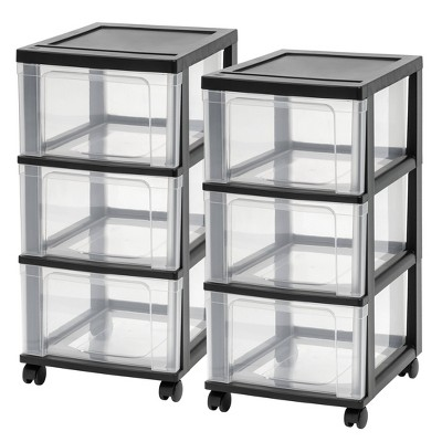 IRIS 2pk 3 Drawer Narrow Cart Black