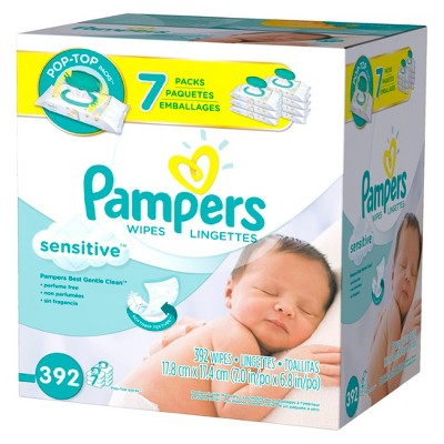 Pampers Sensitive Baby Wipes 7x Pop-Top Pack - 392 ct