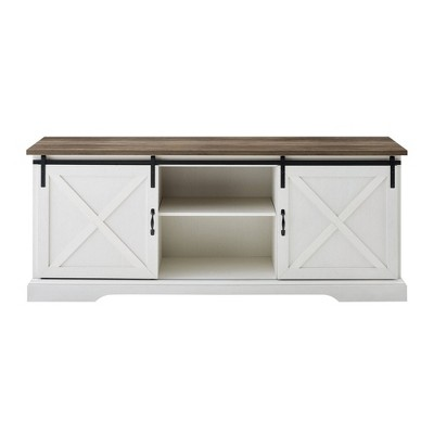 """Double Sliding X Barn Door TV Stand for TVs up to 80"""" - Saracina Home"""