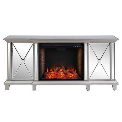 Tappington Mirrored Smart Fireplace Media Console Silver - Aiden Lane