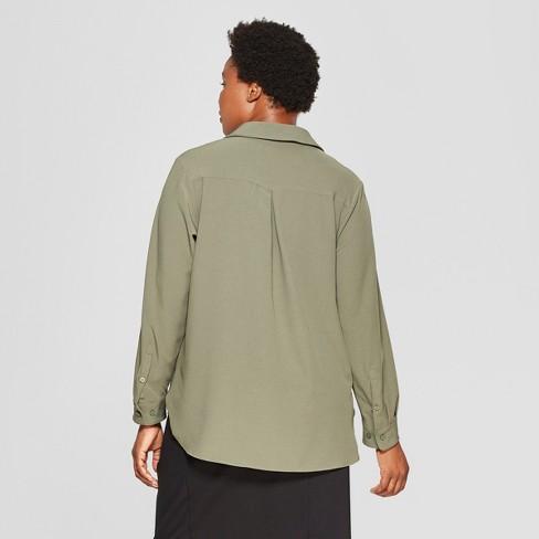 Women's Plus Size No Gap Button-Down Long Sleeve Blouse - Ava & Viv™