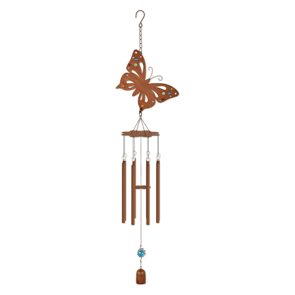 36 Tall Metal And Marble Butterfly Chime - Rustic - Sunset Vista Design, Multi-Colored